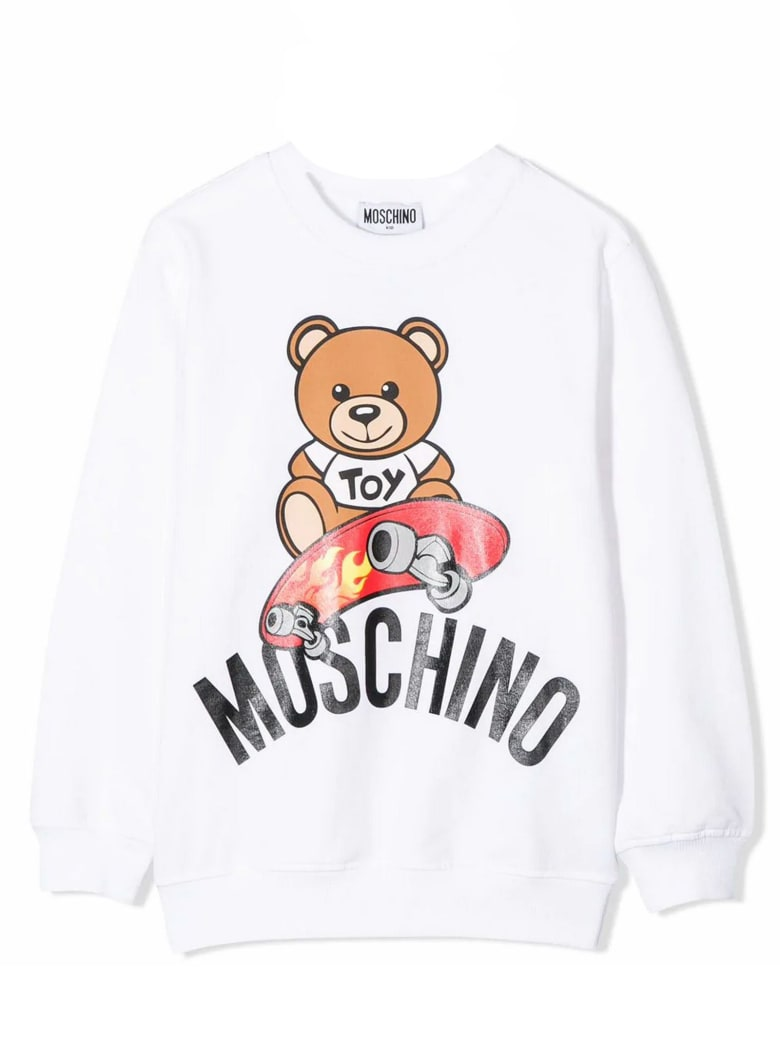 Moschino White Cotton Sweatshirt - Bianco