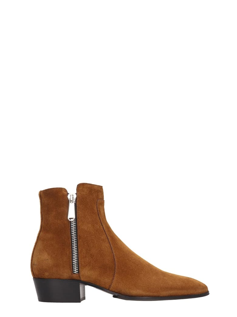 Balmain Ankle Boots In Leather Color Suede - leather color