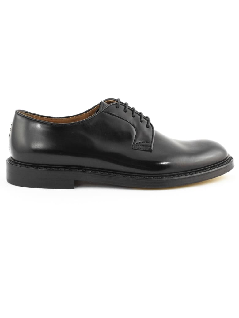 Doucal's Black Leather Derby Shoes - Nero