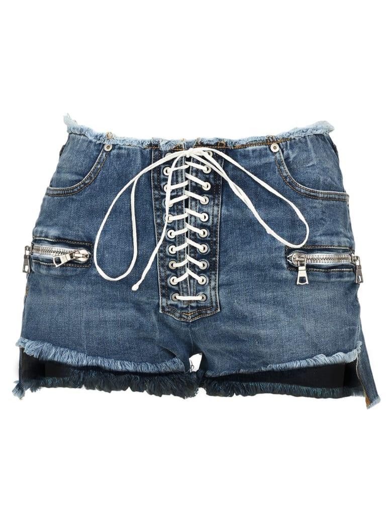 Ben Taverniti Unravel Project Unravel Lace-up Denim Shorts - BLUE