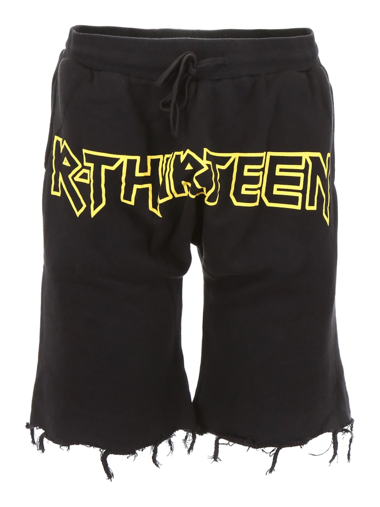R13 Shorts With Logo Print - BLACK (Black)