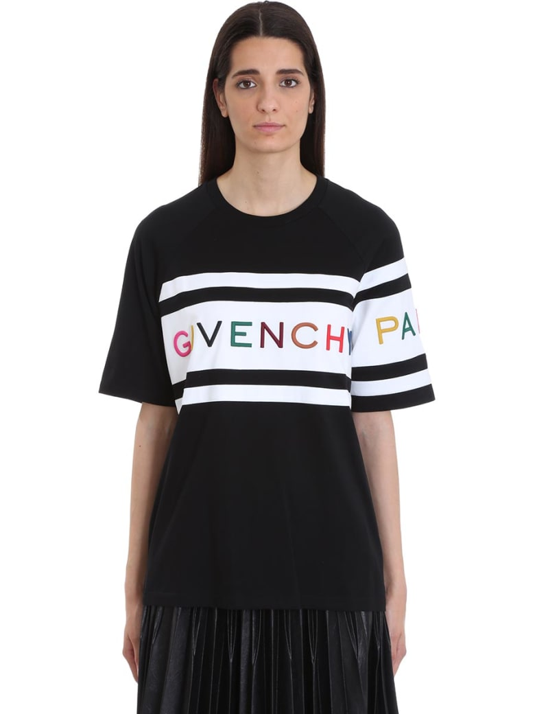 Givenchy Multicolored Embroidered Givenchy Paris T-shirt - black