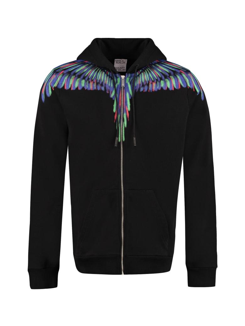 Marcelo Burlon Cotton Full Zip Hoodie - black