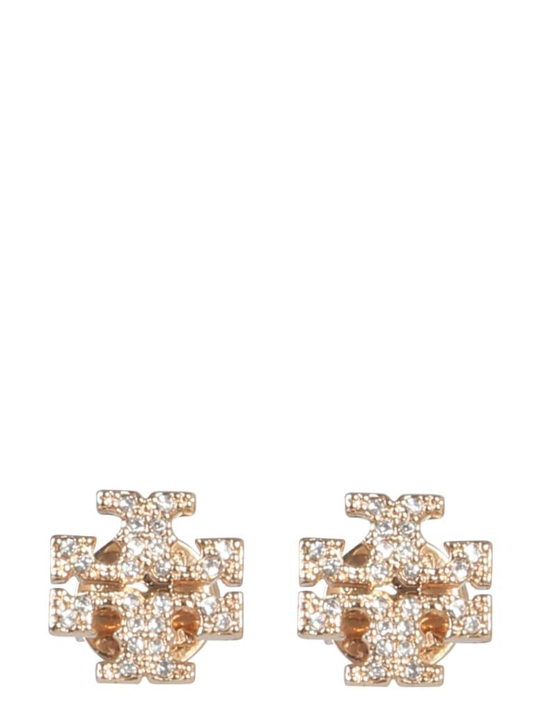 Tory Burch Crystal Logo Earrings - Gold