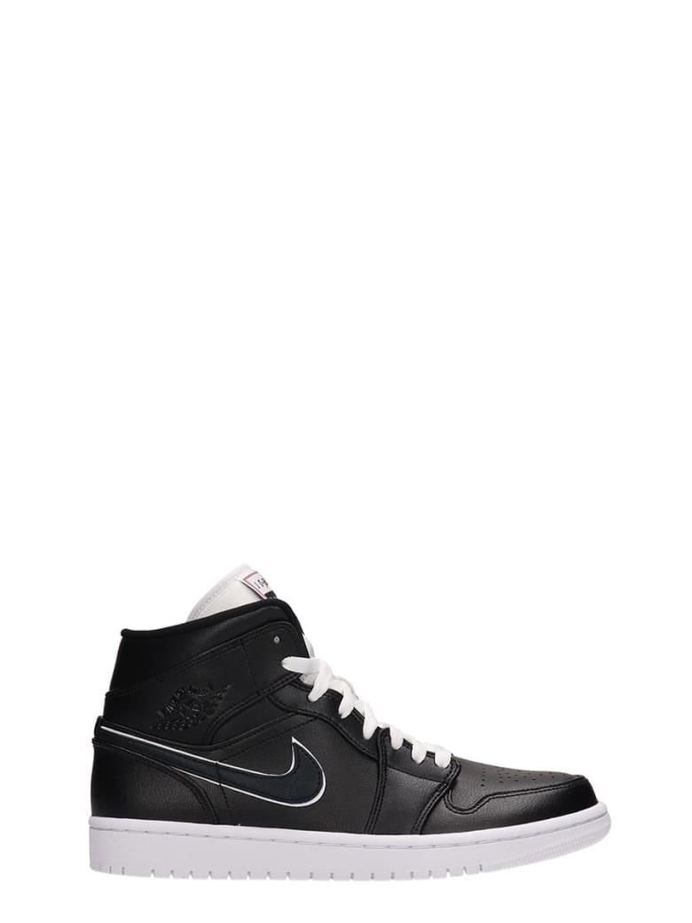 Nike Black Leather And Suede Air Jordan 1mid Sneakers - black