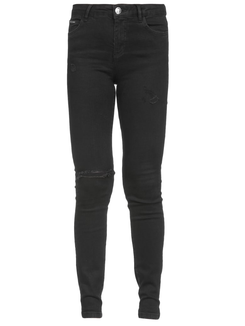 Philipp Plein Slim Fit Statement Jeans - BLACK