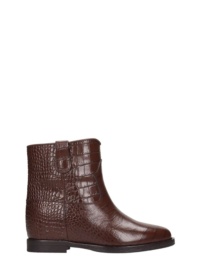 Via Roma 15 Low Heels Ankle Boots In Brown Leather - brown