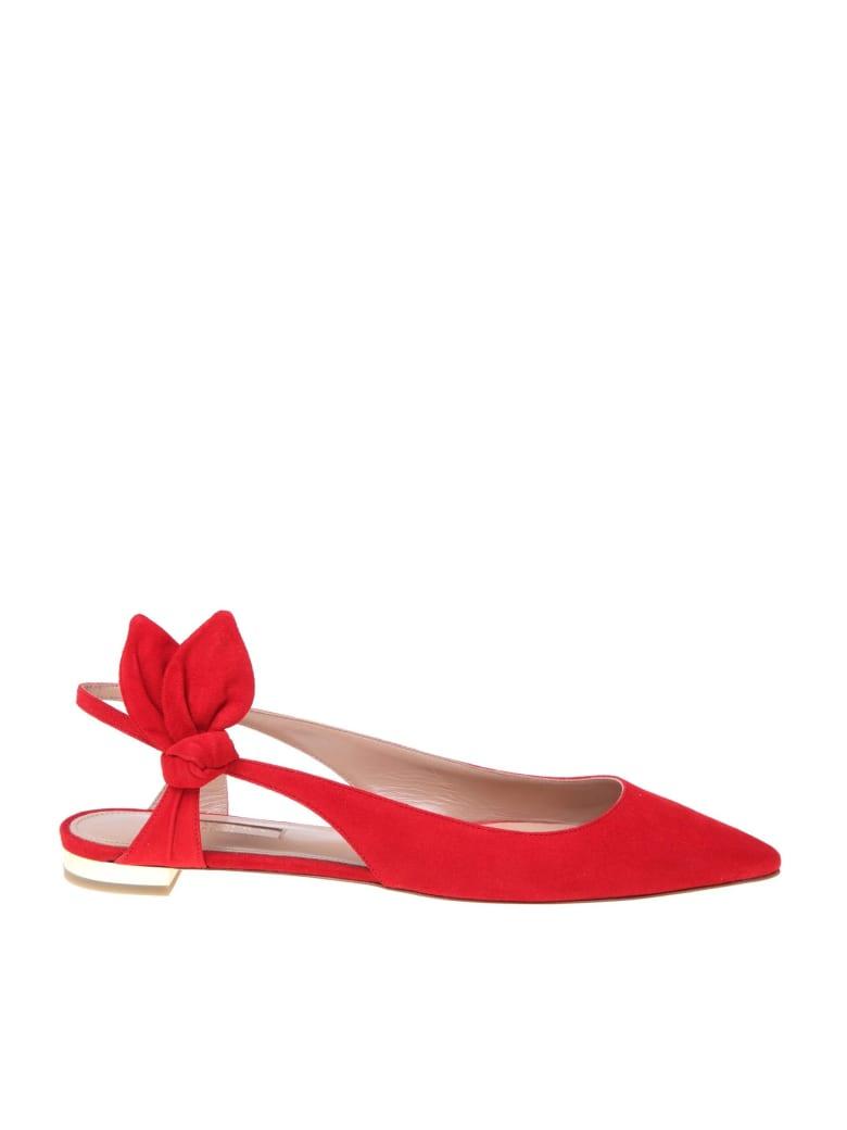 Aquazzura Ballerina Deneuve Ballet In Red Suede - Red