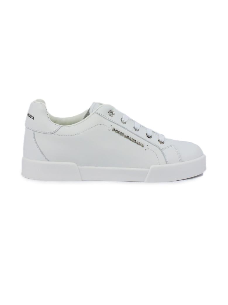 Dolce & Gabbana Portofino Light Sneakers In White Calfskin - Bianco