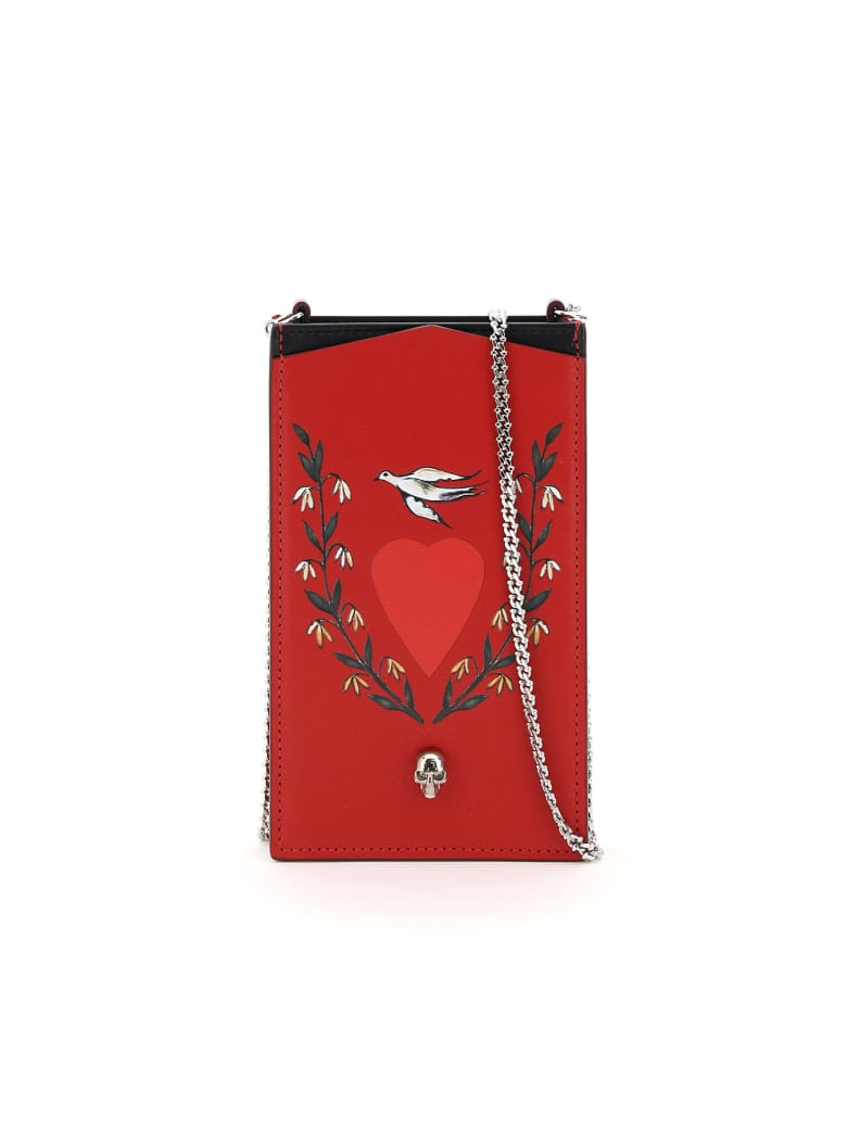 Alexander McQueen Phone Case With Print And Chain - RED MULTI BLACK (Red)