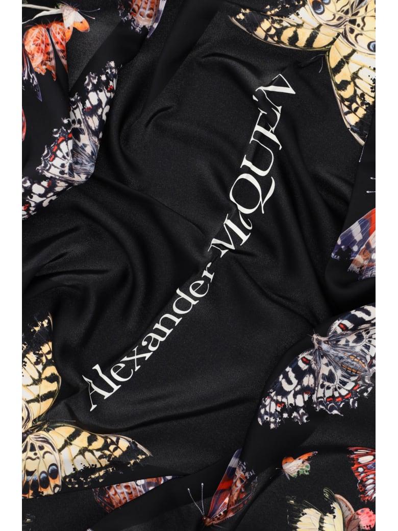 Alexander McQueen Butterfly Decay Silk Scarf - BLACK
