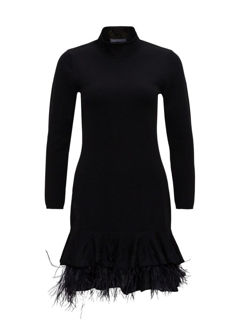 Alberta Ferretti Woollen Minidrwess With Feathers - Black