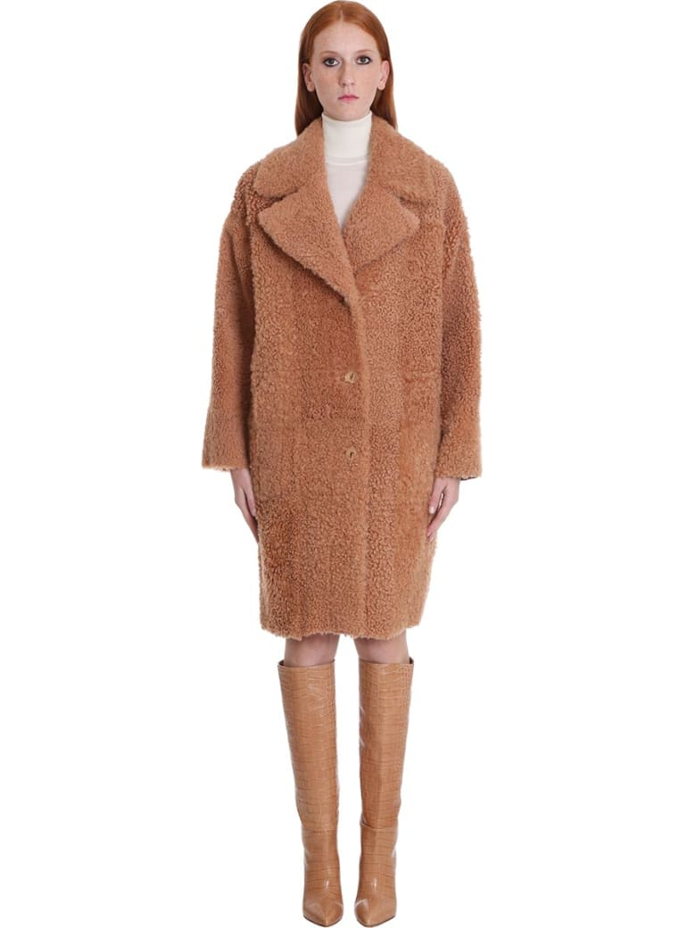 DROMe Coat In Rose-pink Leather - rose-pink
