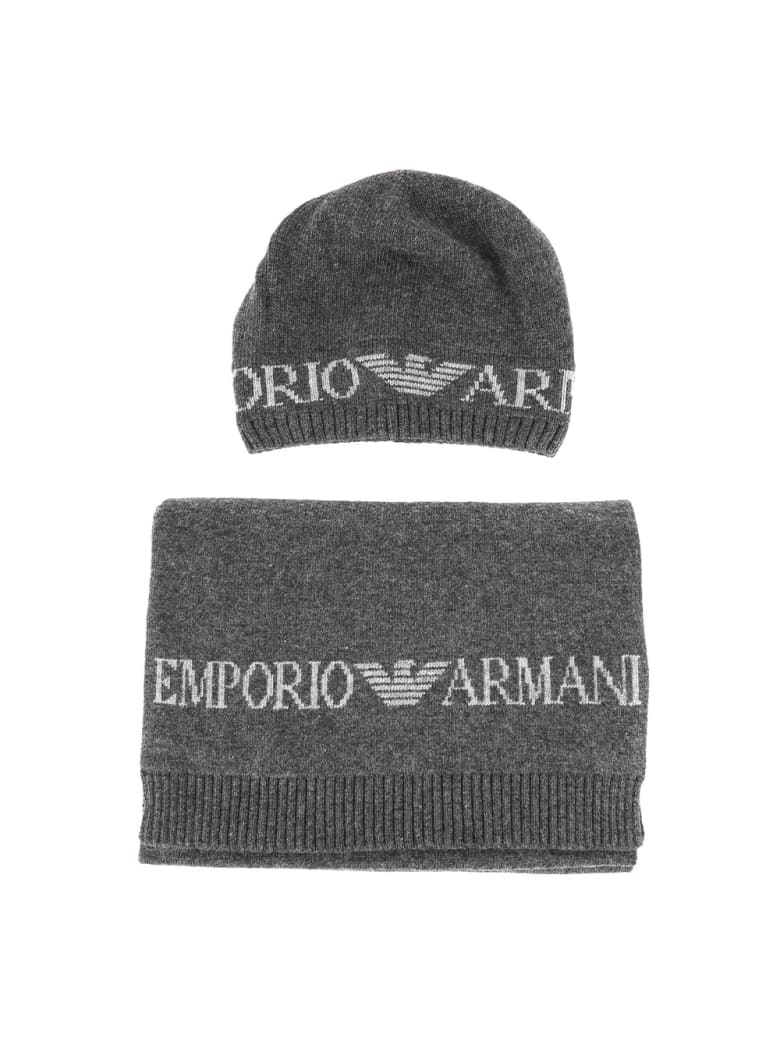 Emporio Armani Scarf And Hat Set With Logo - Grey