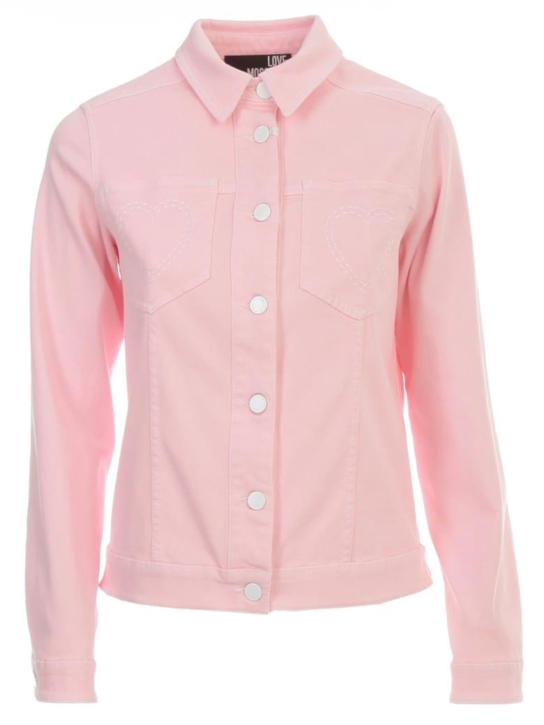 Love Moschino Denim Jacket W/heart On  Pockets - Pink