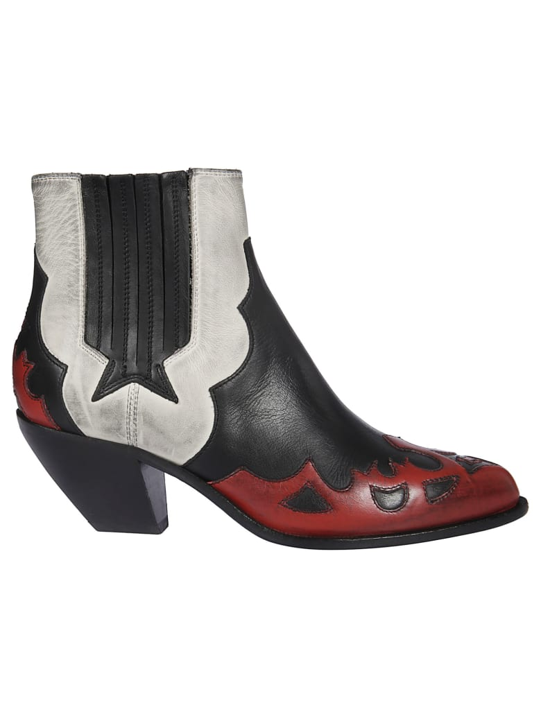 Golden Goose Sunset Flowers Ankle Boots - White Red Black