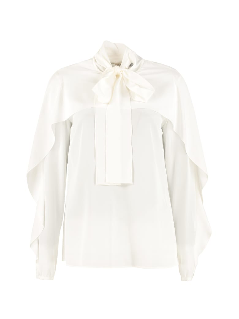 RED Valentino Foulard Collar Silk Blouse - White