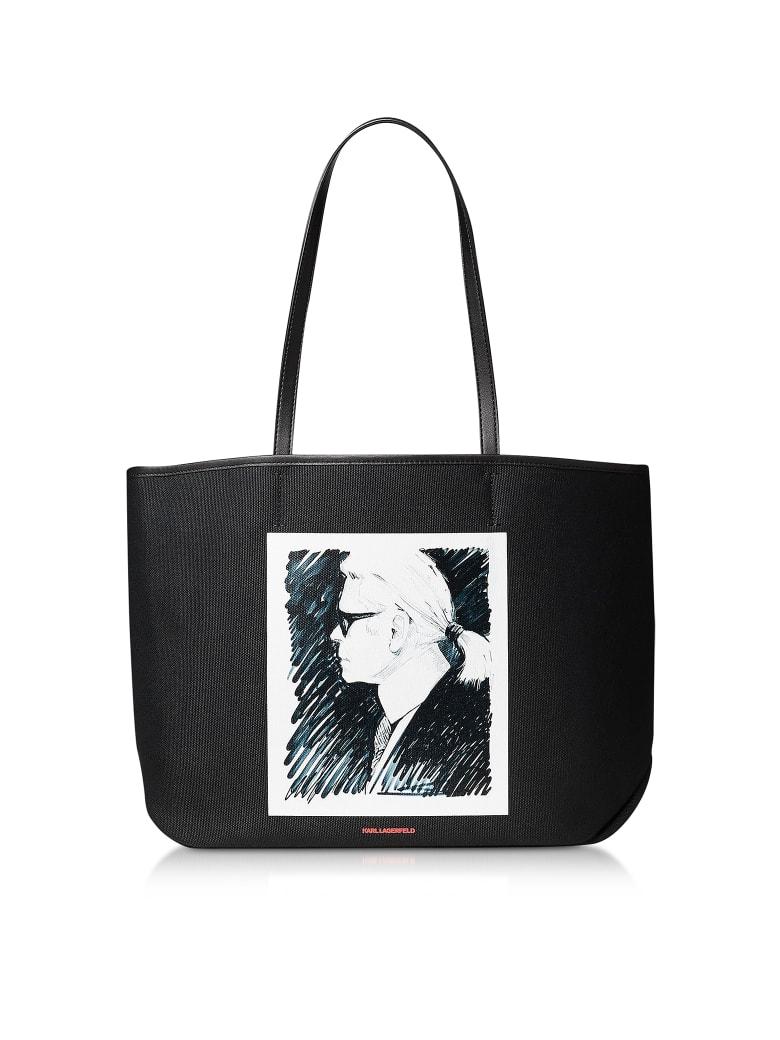 Karl Lagerfeld Karl Legend Canvas Tote - Black