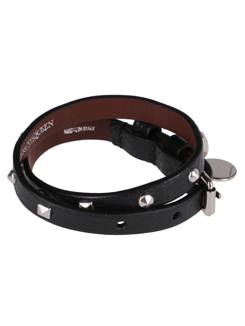 Alexander McQueen Black Leather Skull Bracelet - Black
