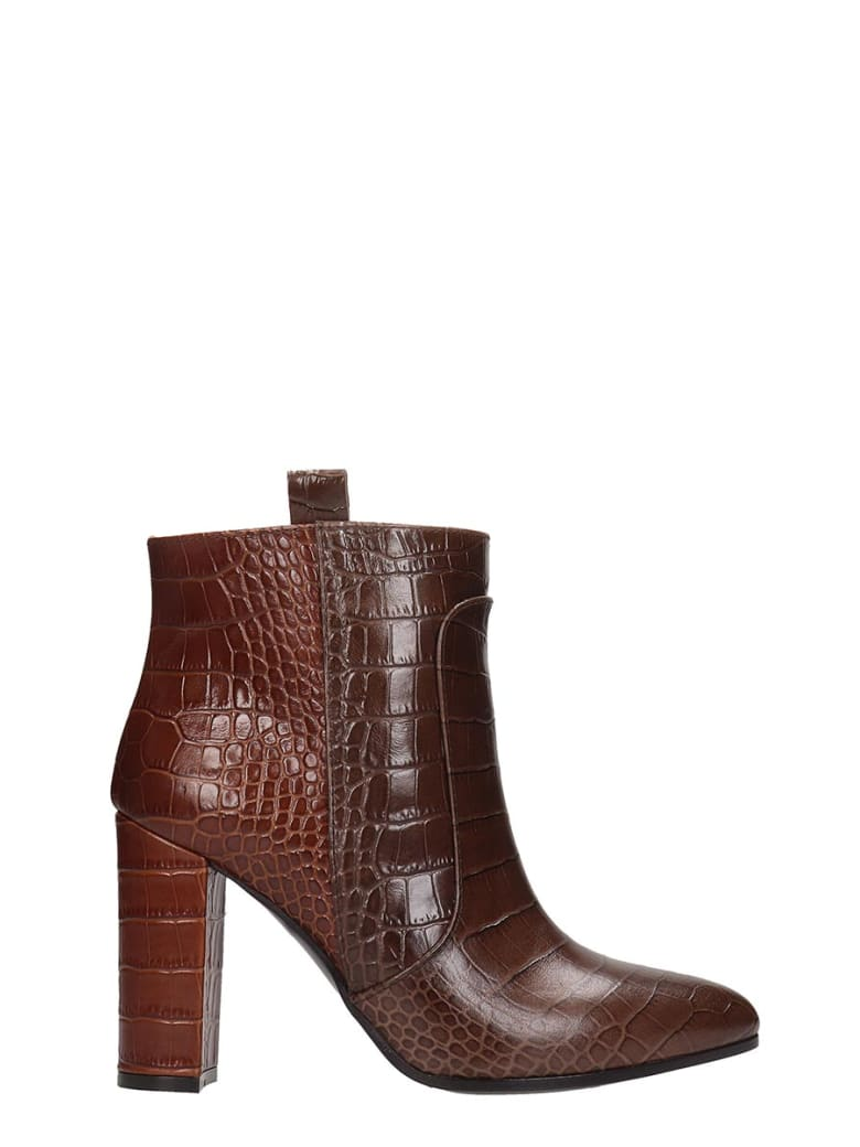 Via Roma 15 High Heels Ankle Boots In Brown Leather - brown