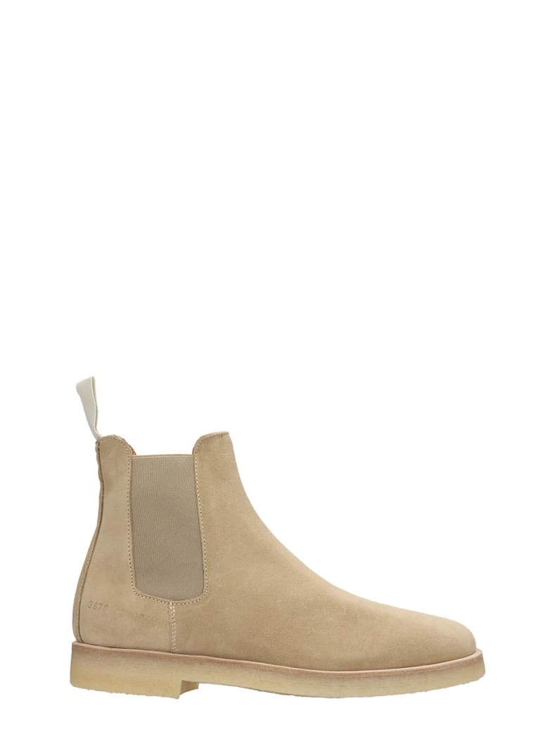 Common Projects Chelsea Boot High Heels Ankle Boots In Beige Suede - beige