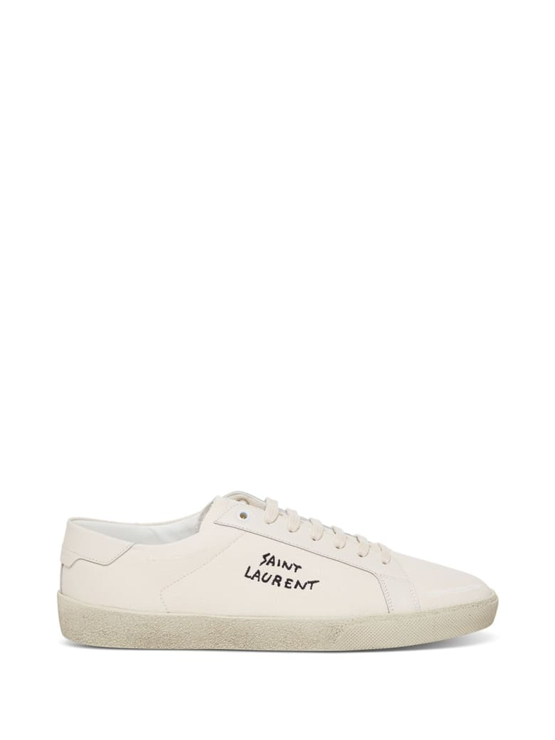 Saint Laurent Low Top Sneakers In Fabric With Logo - White