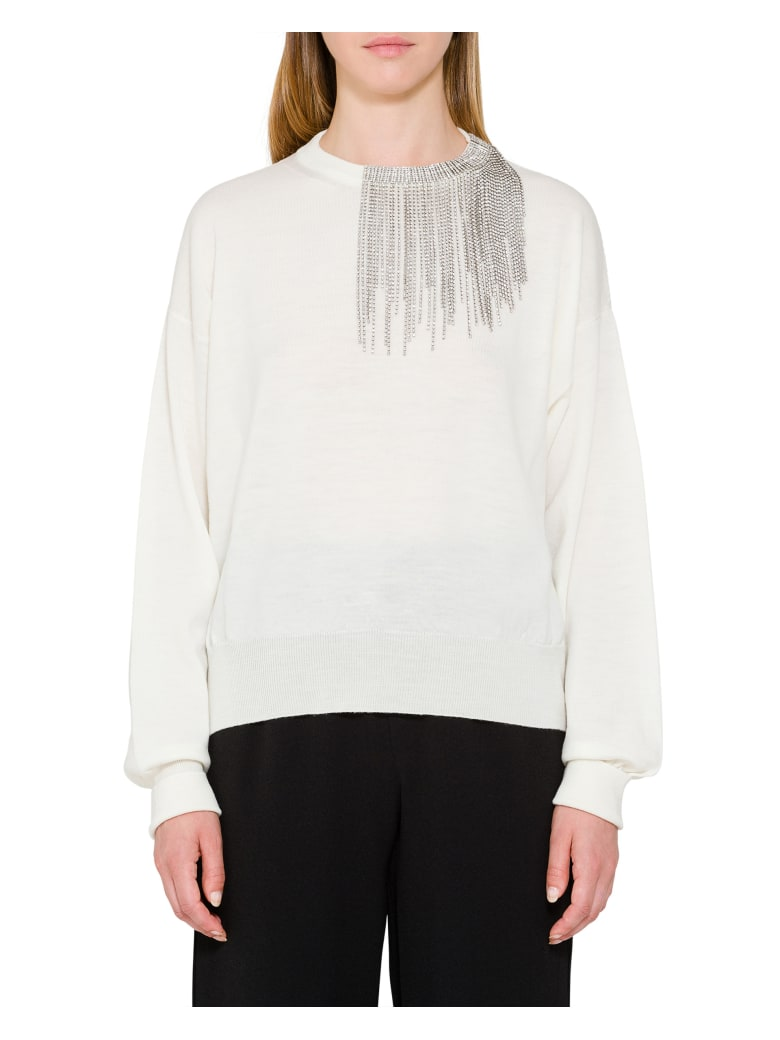 Circus Hotel Crystal Embellished Neck Sweater -  Latte
