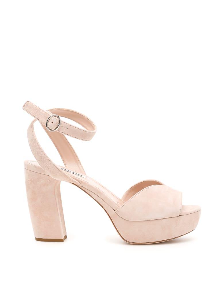 Miu Miu Suede Platform Sandals - CIPRIA (Beige)