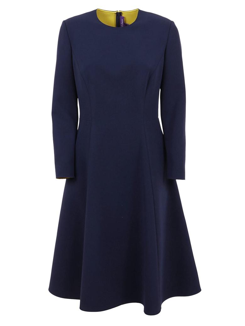 Ralph Lauren Black Label Viola Long Sleeve-day Dress - Lux Navy Racing Yellow