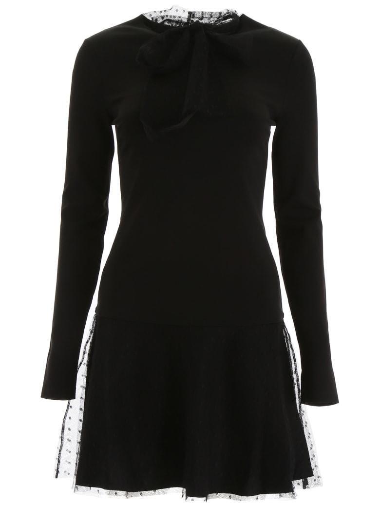 RED Valentino Mini Dress With Plumetis - NERO (Black)