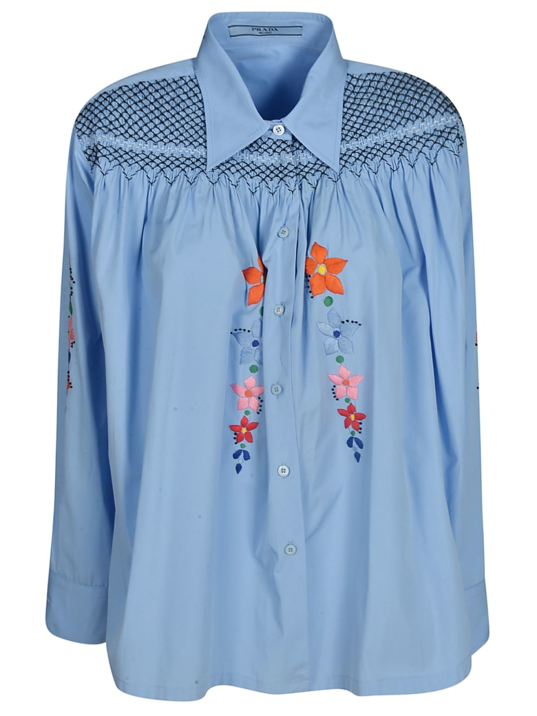 Prada Floral Embroidered Shirt - Blue/Multicolor
