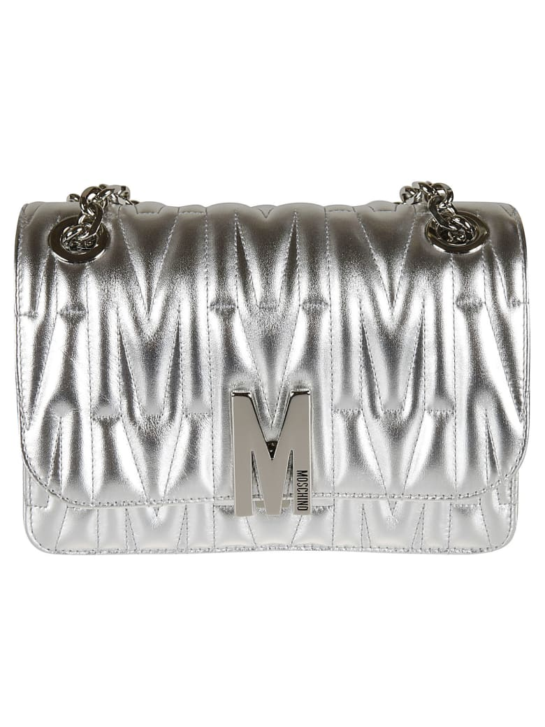 Moschino Logo Plaque Quilted Chain Shoulder Bag - steel