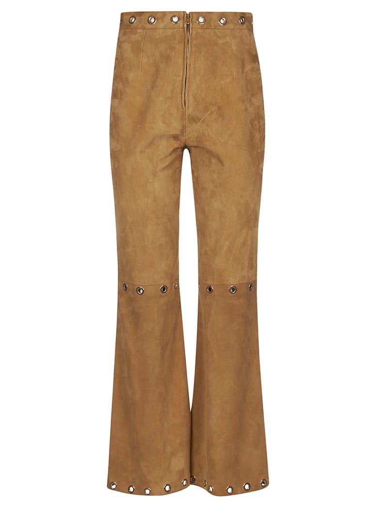 Alberta Ferretti Eyelet Detail Studded Waist Trousers - Brown