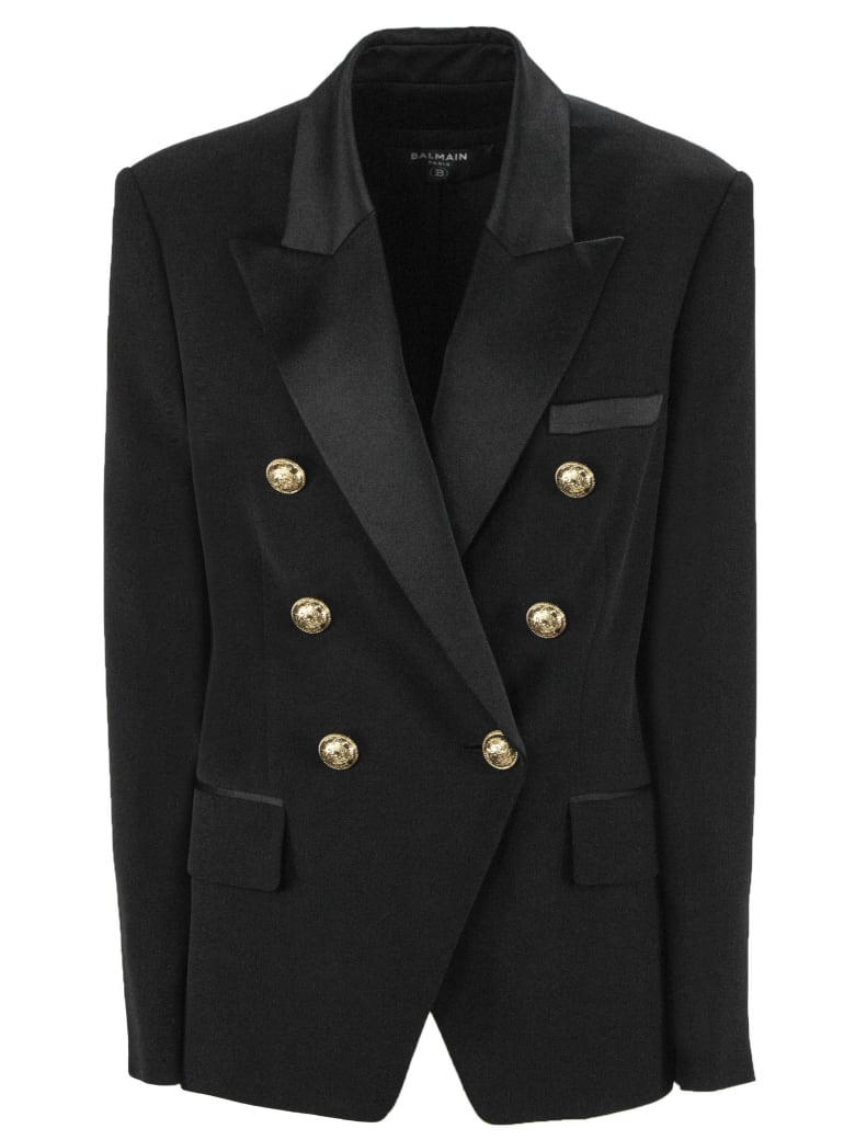 Balmain Black Double-breasted Jacket - Nero