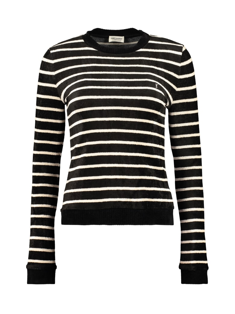 Saint Laurent Long Sleeve Crew-neck Sweater - black