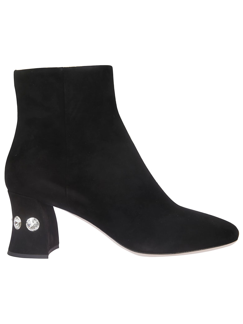 Miu Miu Side Zip Ankle Boots - Black