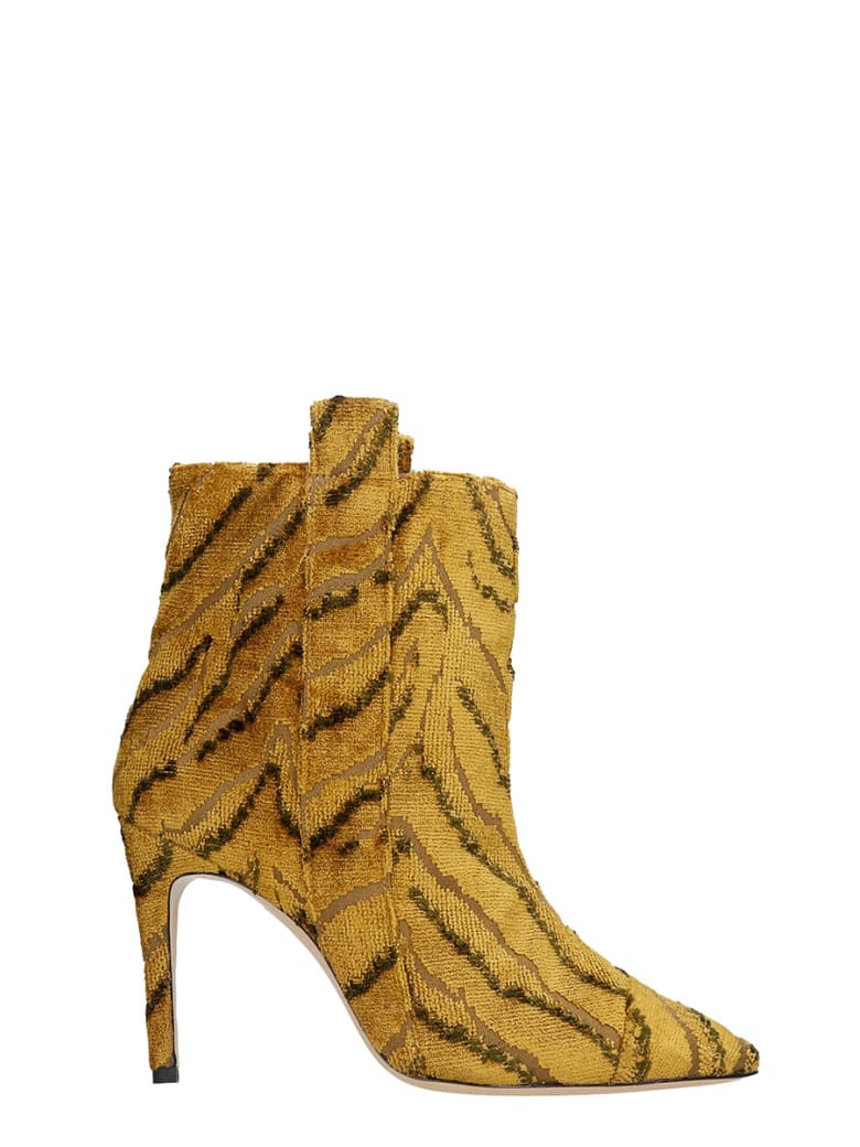 Bams High Heels Ankle Boots In Yellow Fabric - yellow