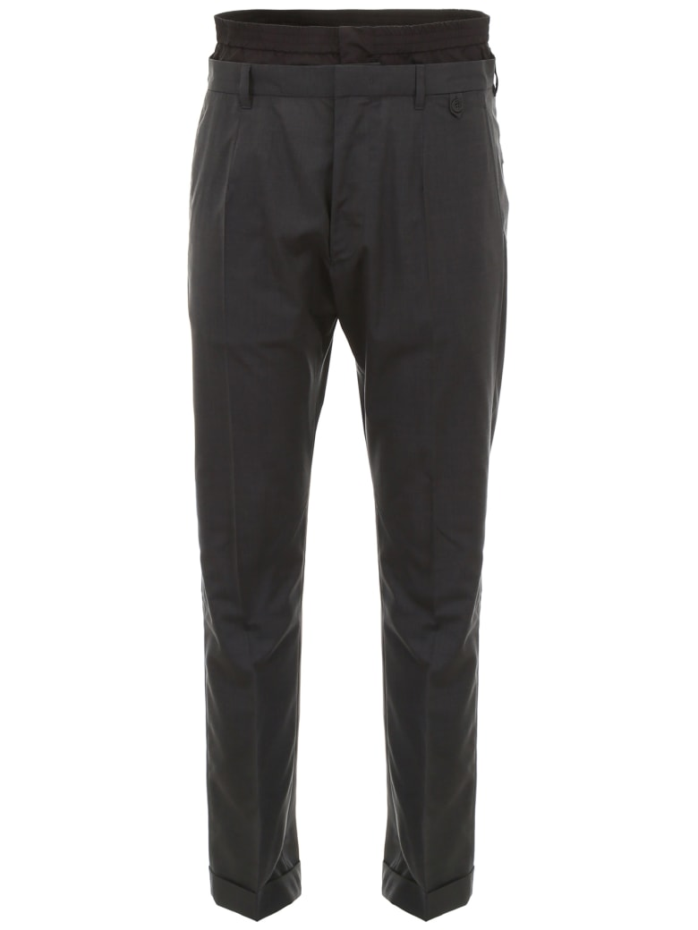 Prada Linea Rossa Wool And Nylon Trousers - ARDESIA+NERO (Grey)