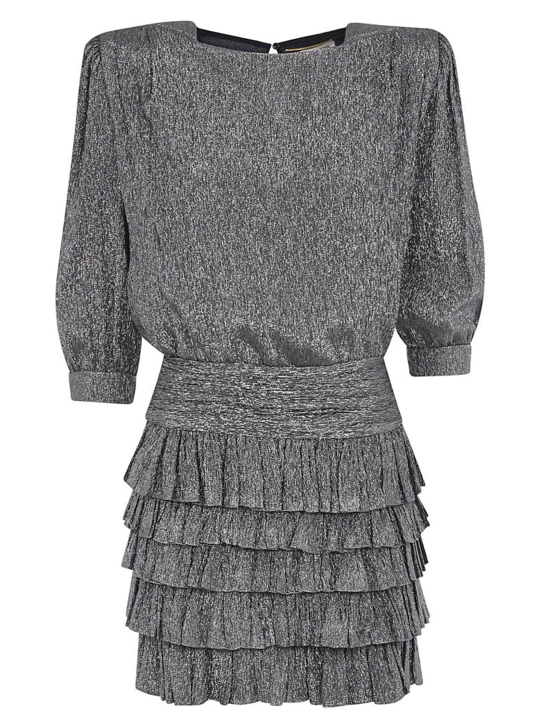 Saint Laurent Glittery Coating Dress - Noir argent