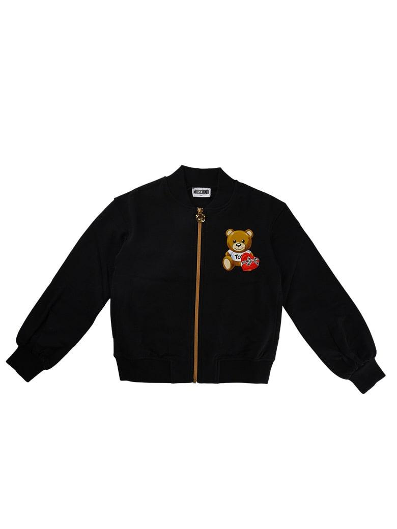Moschino Black Zipped Sweatshirt Without Hood - Black