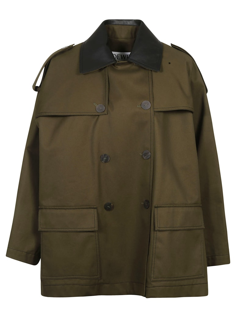 Loewe Leather Collar Military Parka - Khaki Green
