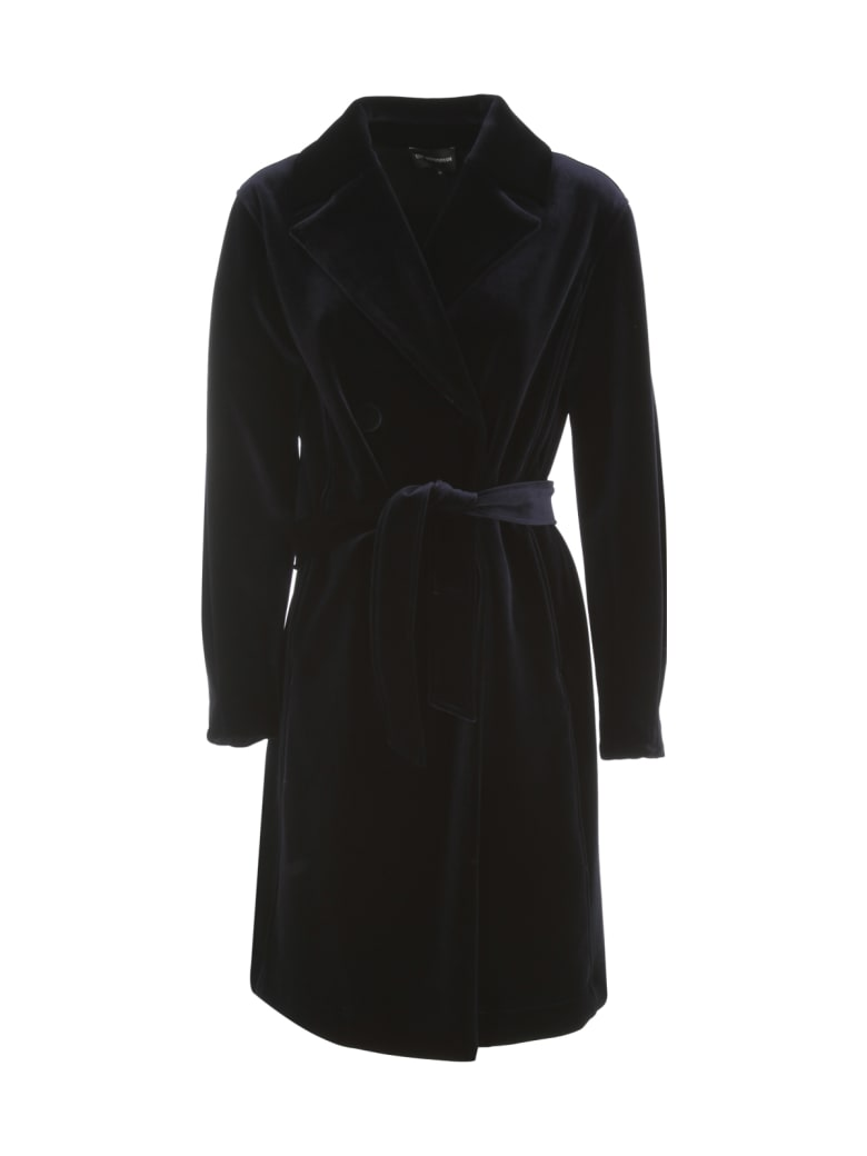 Emporio Armani Smooth Velvet Trench - Blu