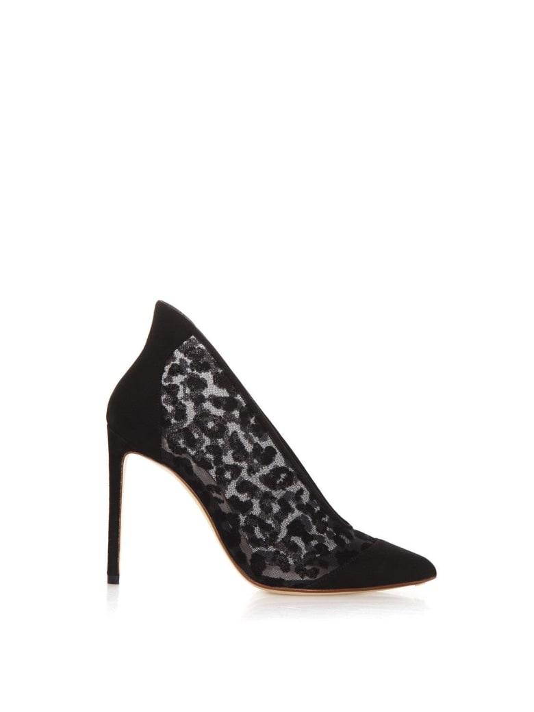 Francesco Russo Leopard Velvet And Suede Decollete - Black