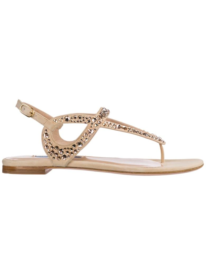 Stuart Weitzman Allura T-bar Sandals - Dolce suede / Crystal