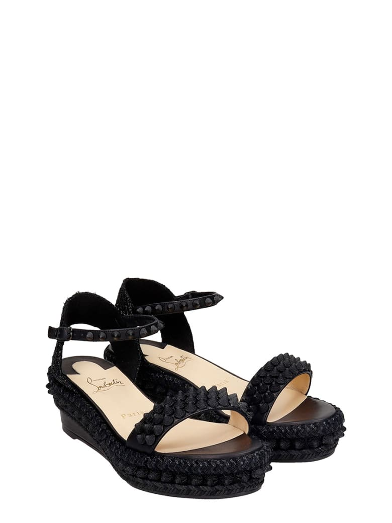 Christian Louboutin Lata 60 Wedges In Black Leather - black