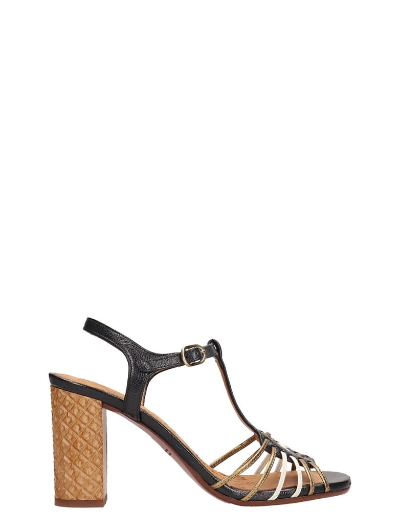 Chie Mihara Gold Leather Bandida Sandals - black
