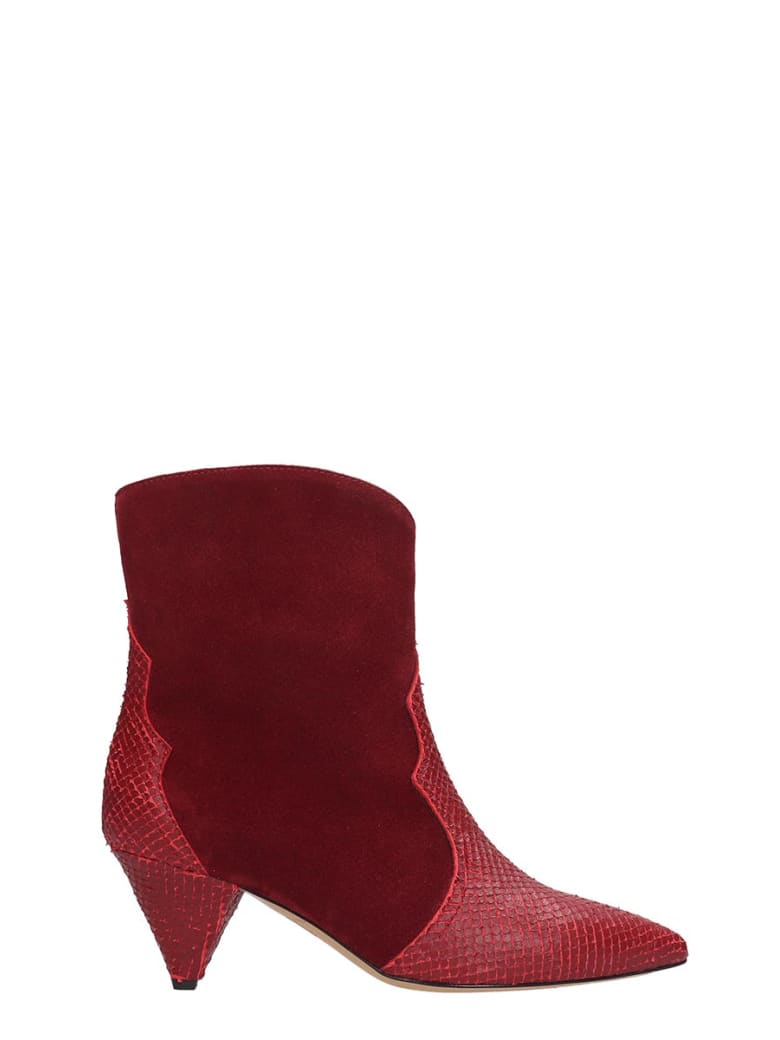 The Seller High Heels Ankle Boots In Red Suede And Leather - red