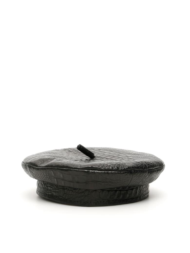 Ruslan Baginskiy Croc-print Beret - BLACK (Black)