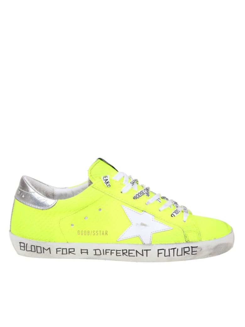 Golden Goose Super-star In Fluo Yellow Leather - White/Yellow