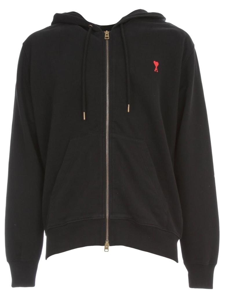 Ami Alexandre Mattiussi Zipped Sweatshirt W/hood And Logo Patch - Black